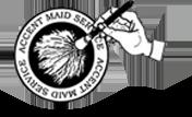 白色标志的口音女佣服务,一个印第安纳波利斯家庭清洁供应商