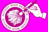 粉红色标志的口音女佣服务,一个印第安纳波利斯家庭清洁供应商