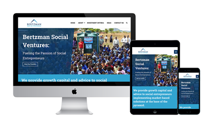 Graphic of the Bertzman Social Ventures website on Desktop, Tablet, and Mobile