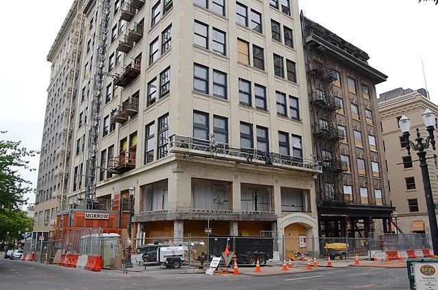 Woodlark Building and Cornelius Hotel during renovation