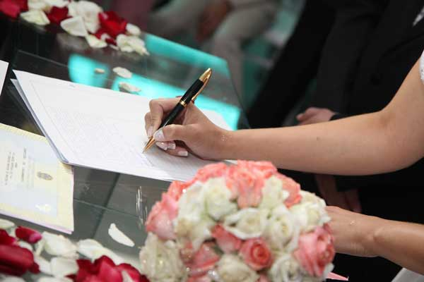 Signing on the dotted line as a bride and groom for a wedding