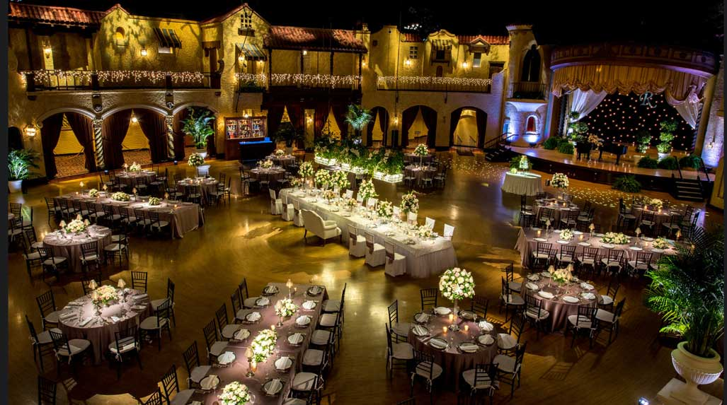 Indiana Roof Ballroom configured for a formal wedding