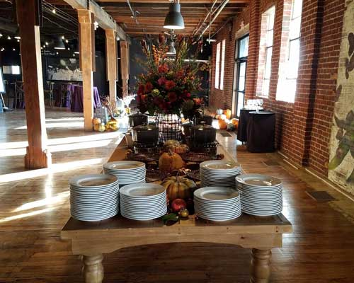 Buffet at a fall wedding in Indianapolis catered by Crystal Catering