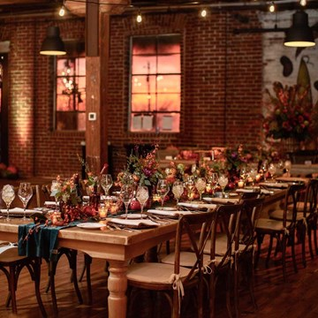 Sunset on a fall wedding in Indianapolis catered by Crystal Catering