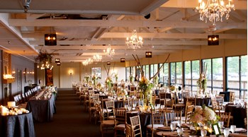 The Lodge at The Willows decorated for a spring wedding reception in Indianapolis
