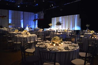 Reception set up at the Crane Bay Event Center, Indianapolis, Indiana