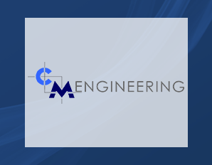 C M Engineering on blue background