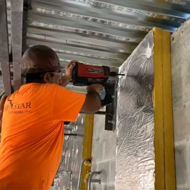 Attaching Insulation to Concrete with Aerosmith's EXIF Tool and Washers