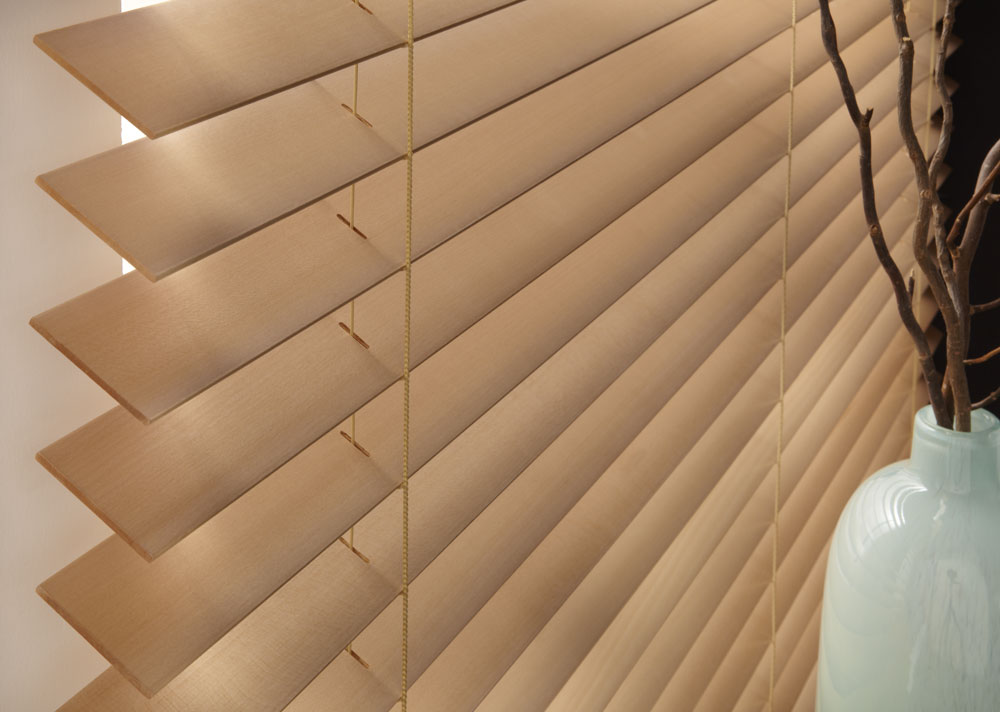 closeup of light brown Heartland Woods® Wood Blinds