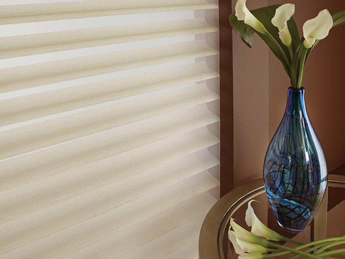 Close up of some tan Tenera® sheer shading material