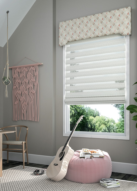 Allure® transitional shade with a custom Interior Masterpieces® cornice in a room with matching pink decorations