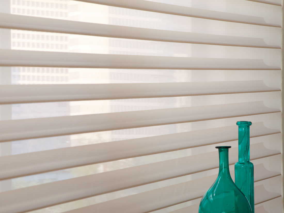Close up view of some off white Tenera® sheer shading material