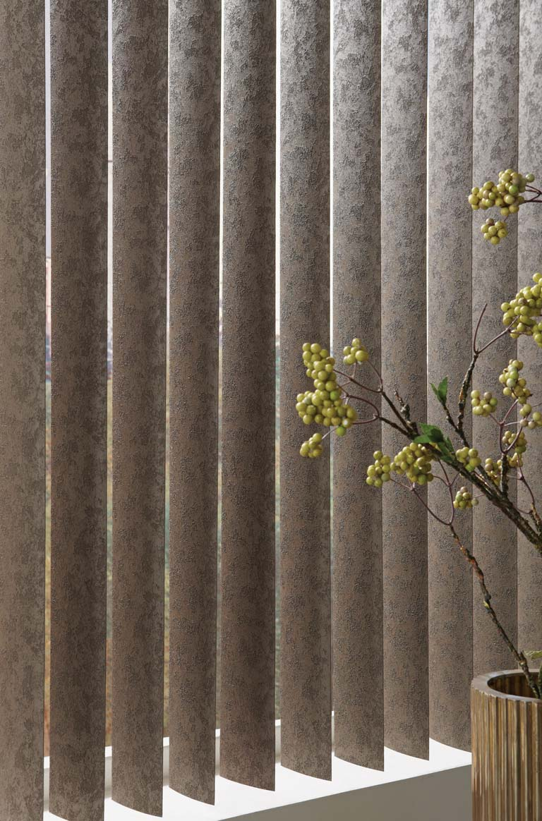 close up of some brown colored Discoveries® Vertical Blinds