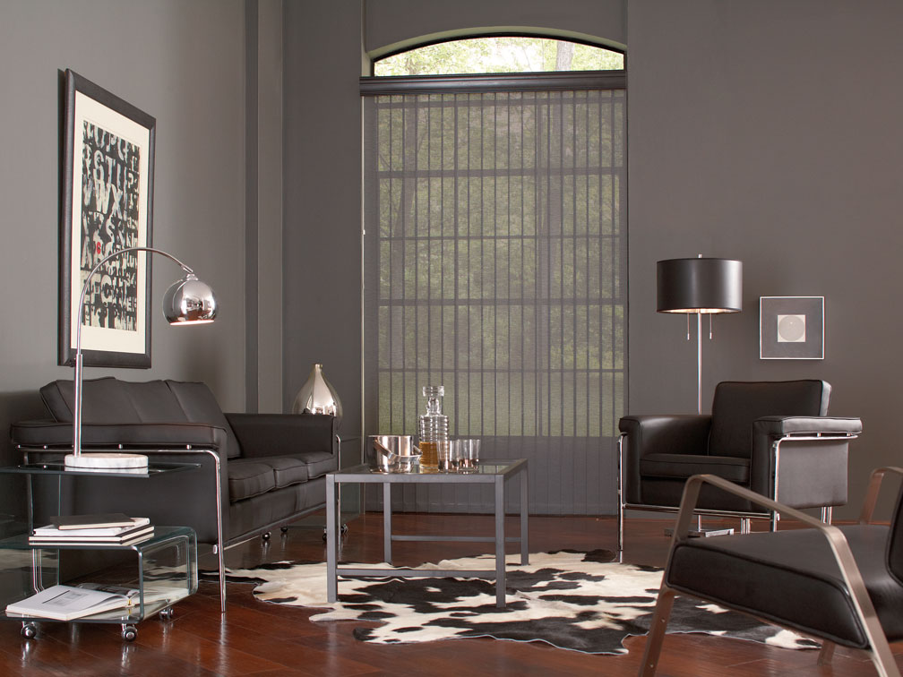 Discoveries® vertical blinds with a Majesty Valance hanging in a gray room with dark furniture