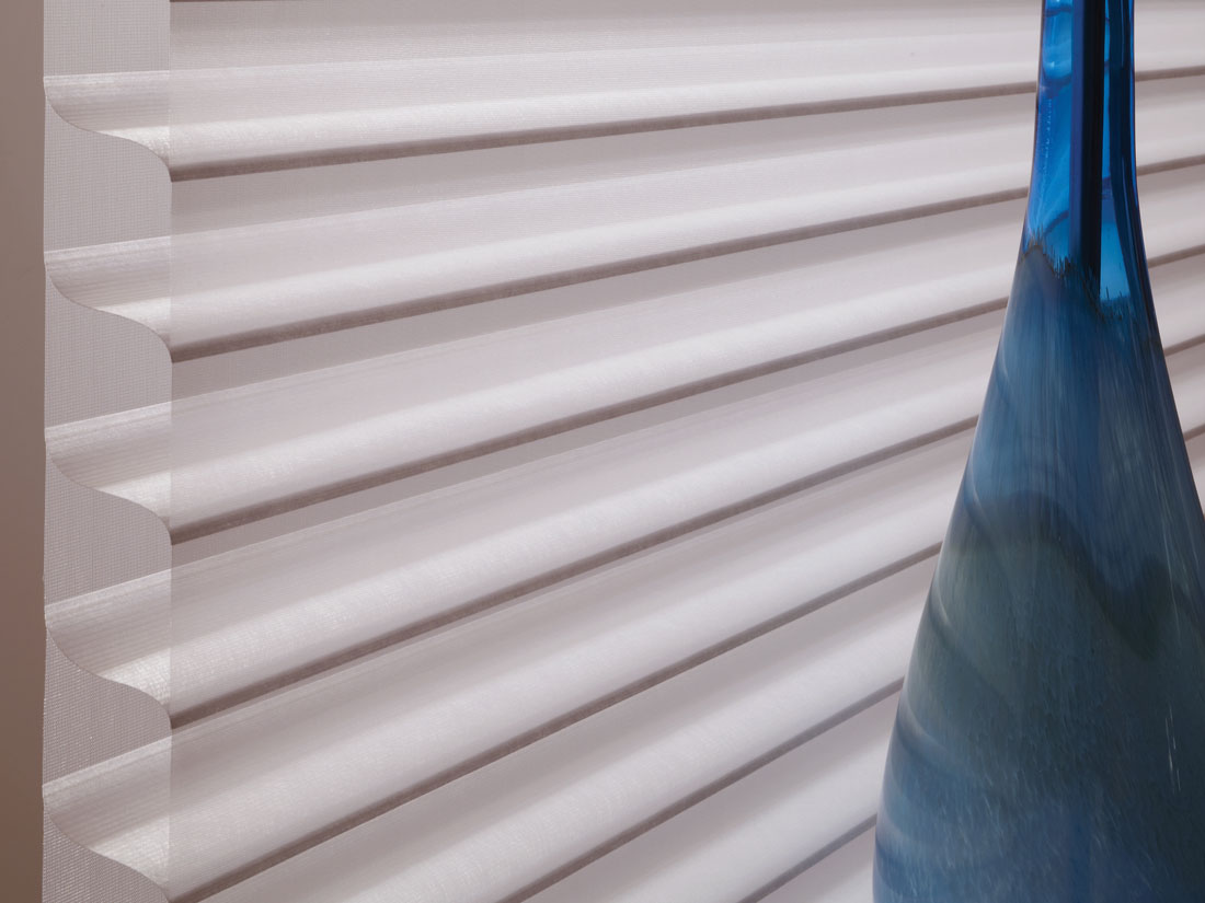 Closeup of white Tenera® sheer shade material
