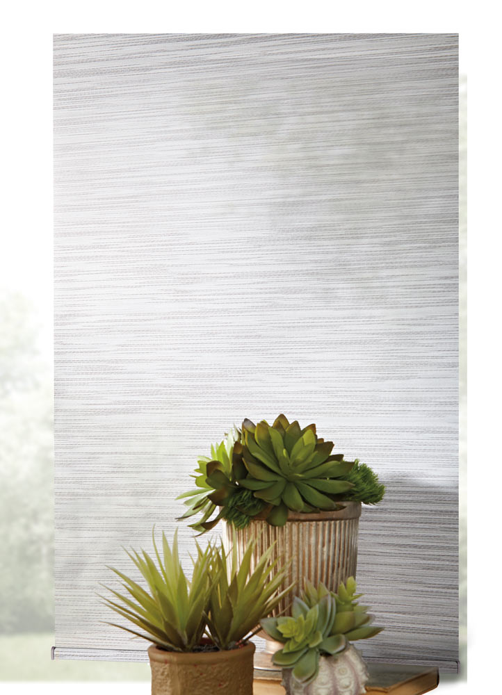 close up view of light gray Genesis® Custom Roller Shade material