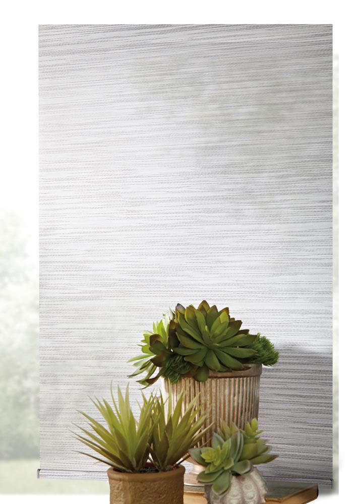 close up view of light gray Genesis® Custom Roller Shade material