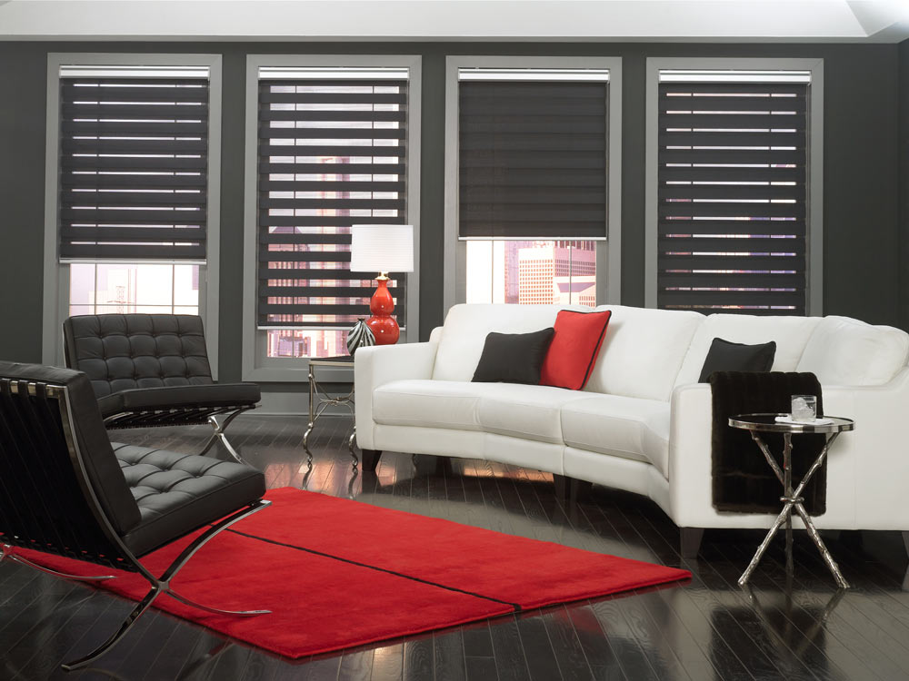 several dark Allure® Transitional Shades against a dark gray wall with a white couch that has gray and red Interior Masterpieces® Custom Pillows on it and black furniture on a red area rug