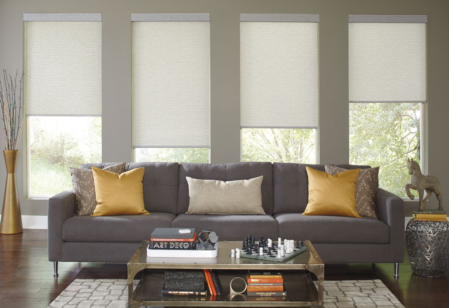 Four cream colored Genesis® Roller Shades behind a couch in a living room setting