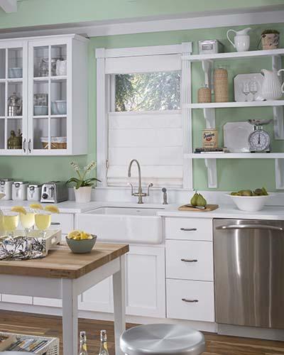 Custom roller shades kitchen image