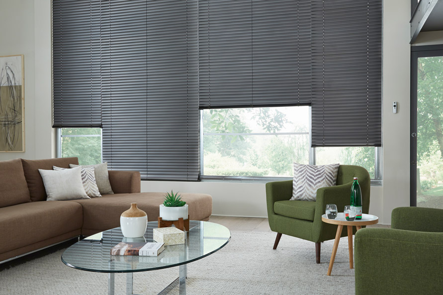 Dark Classic Collection® Aluminum Blinds in a living room with a brown couch and green chair that has Interior Masterpeices® Custom Pillows