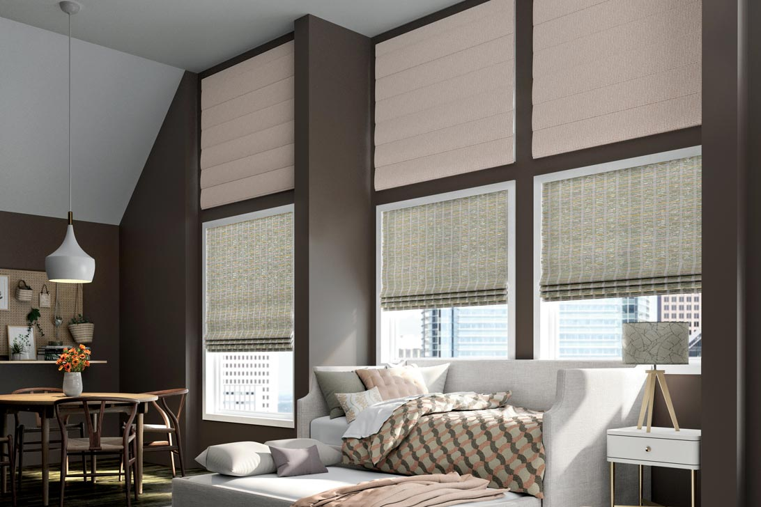 Motorized Manh Truc® Woven Wood Shades & Interior Masterpieces® Fabric Shades