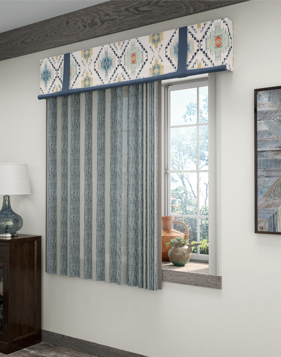 Blue Manh Truc® Panel Drape & tan, blue and green patterned Interior Masterpieces® Fabric Cornice