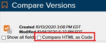 Compare HTML as Code