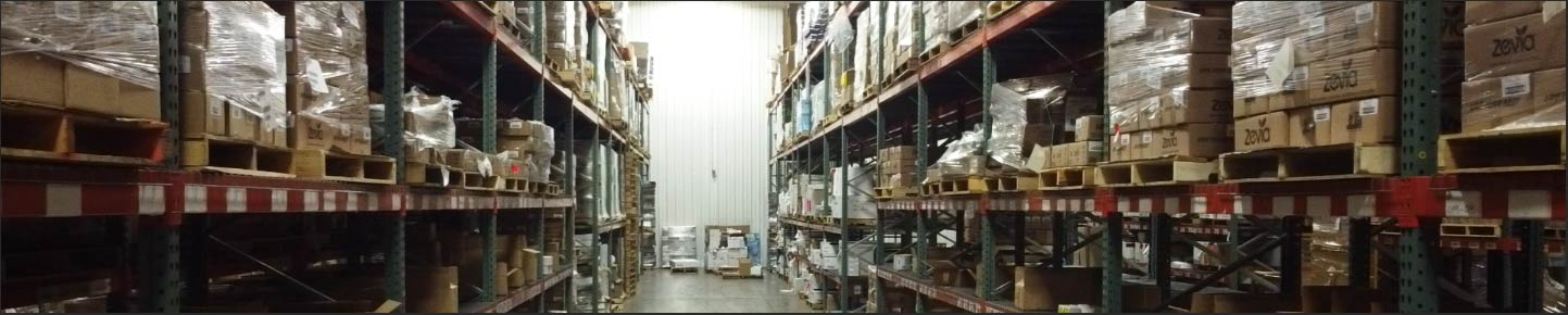 warehousing racks holding beverages and other products ready for distribution at Draco 3PL in Indianapolis