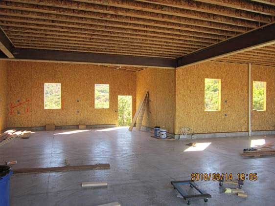 Inside exterior of residential building project in Illinois