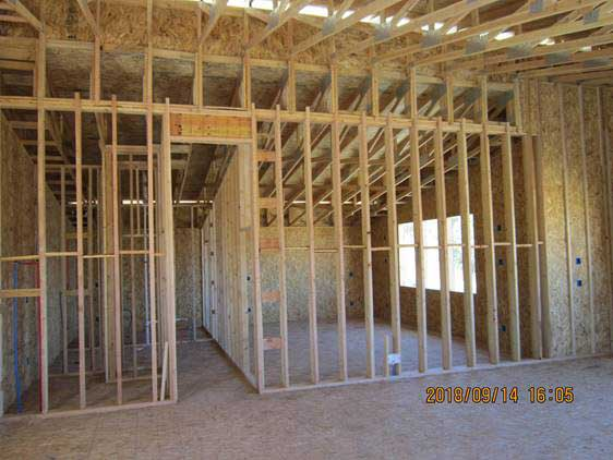 Inside Framed House installed on Illinois residential building project