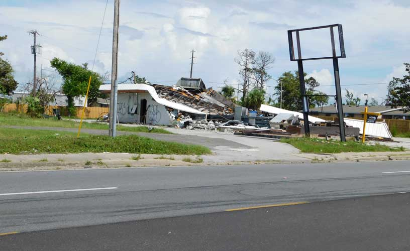 Commercial Building Destroyed after Category 5 Hurricane in Florida