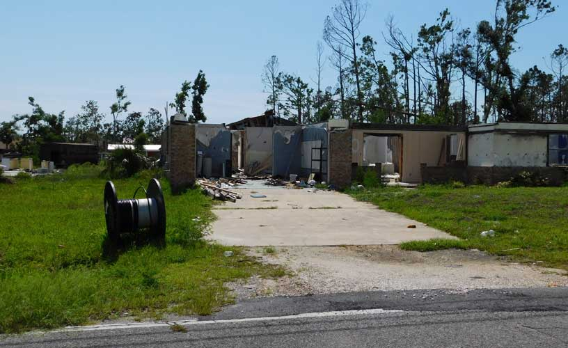 Residential Building Destroyed by Category 5 Hurricane in Florida Panhandle