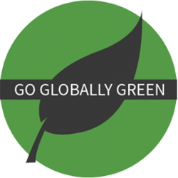 Go Globally Green on a leaf with a green circle background