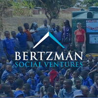 Square graphic of Bertzman Social Ventures logo with a background of one of their projects