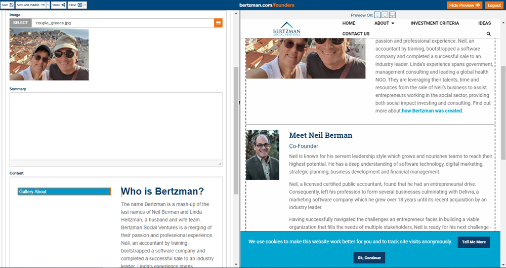 Screenshot of Bertzman Social Ventures' website in the Marketpath CMS to show flexibility