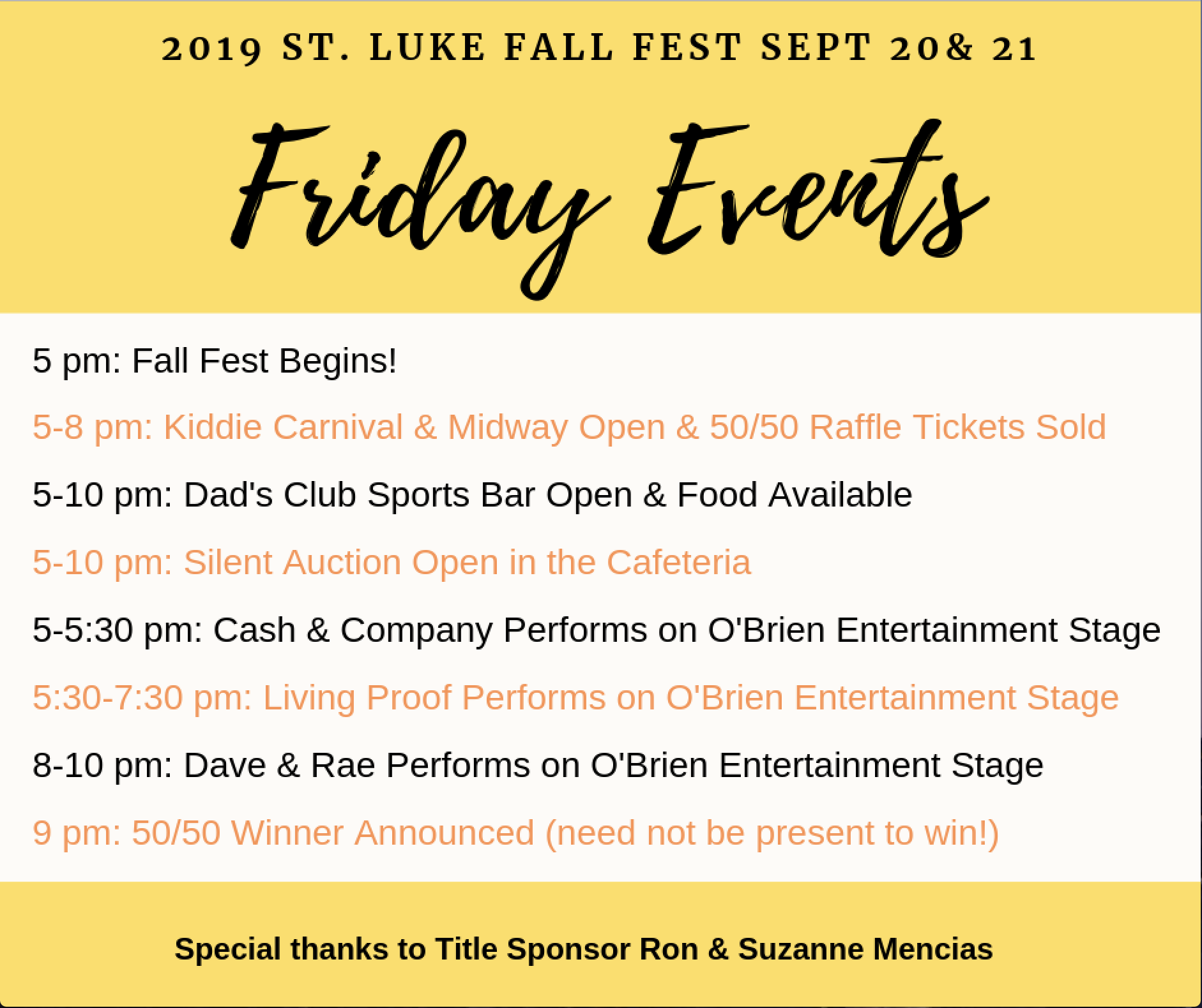 Fall Fest Friday Schedule