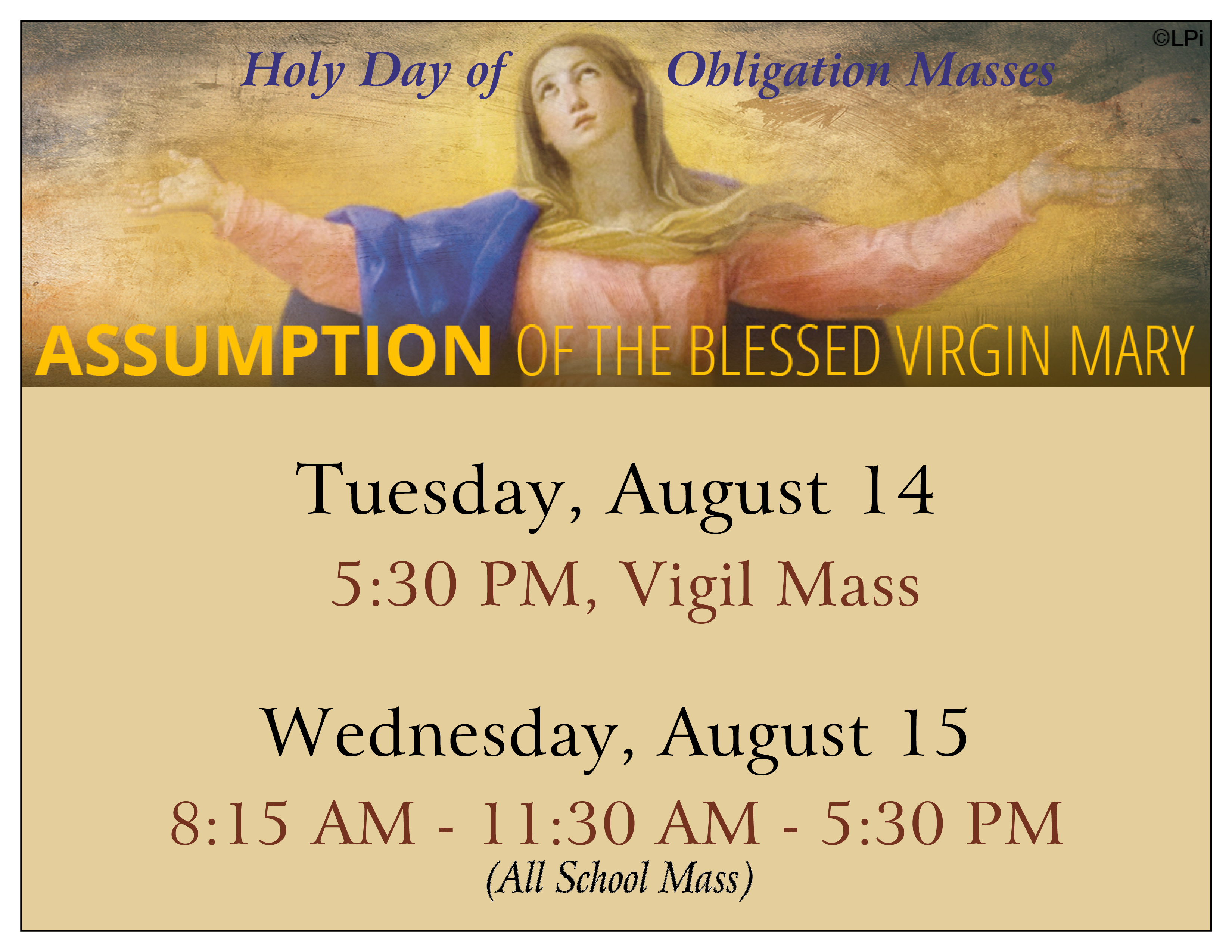 Assumption Of The Blessed Virgin, Holy Day of Obligation