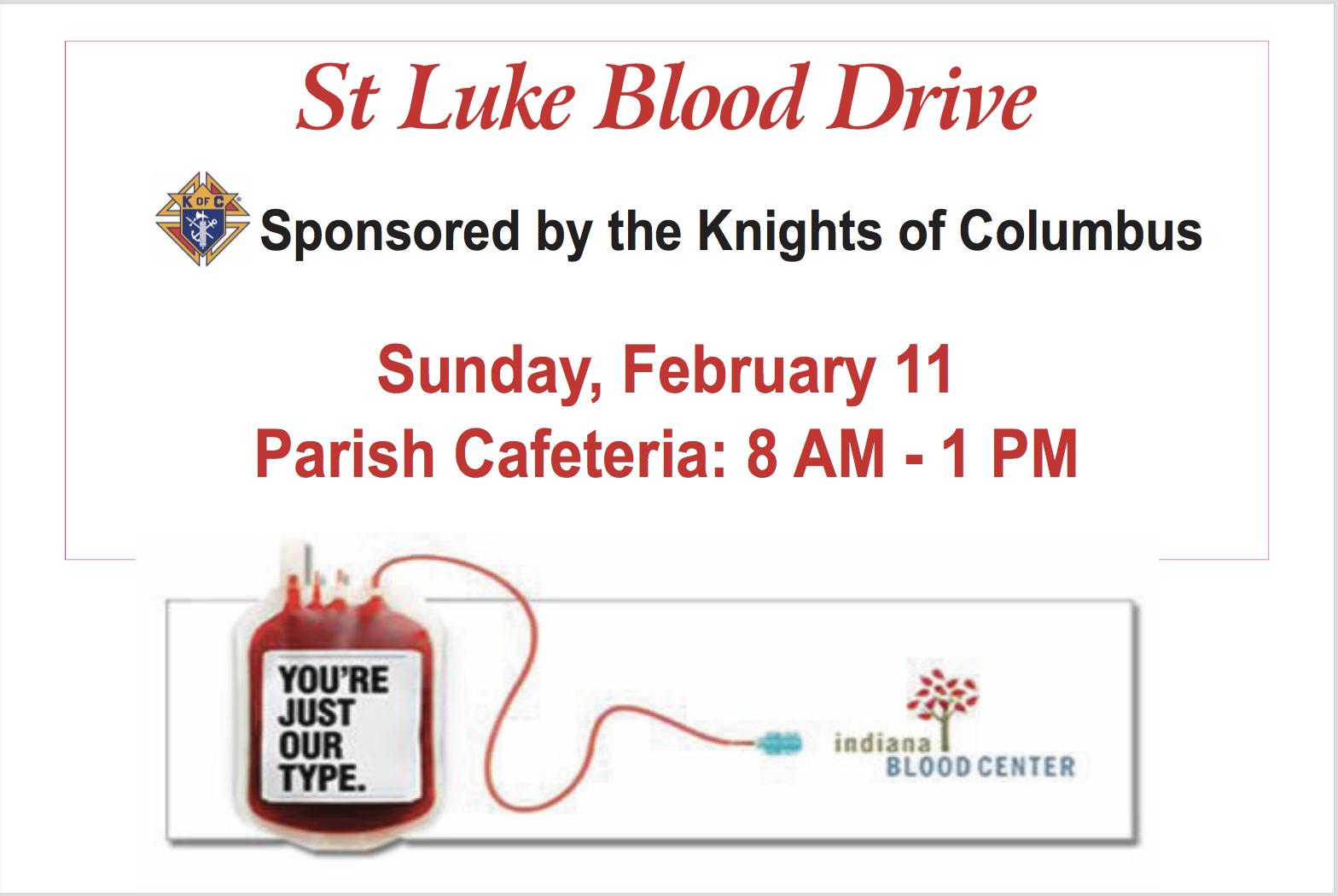 St. Luke Blood Drive - Sponsored by Knights of Columbus