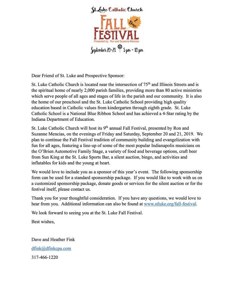 2019 Sponsor Letter