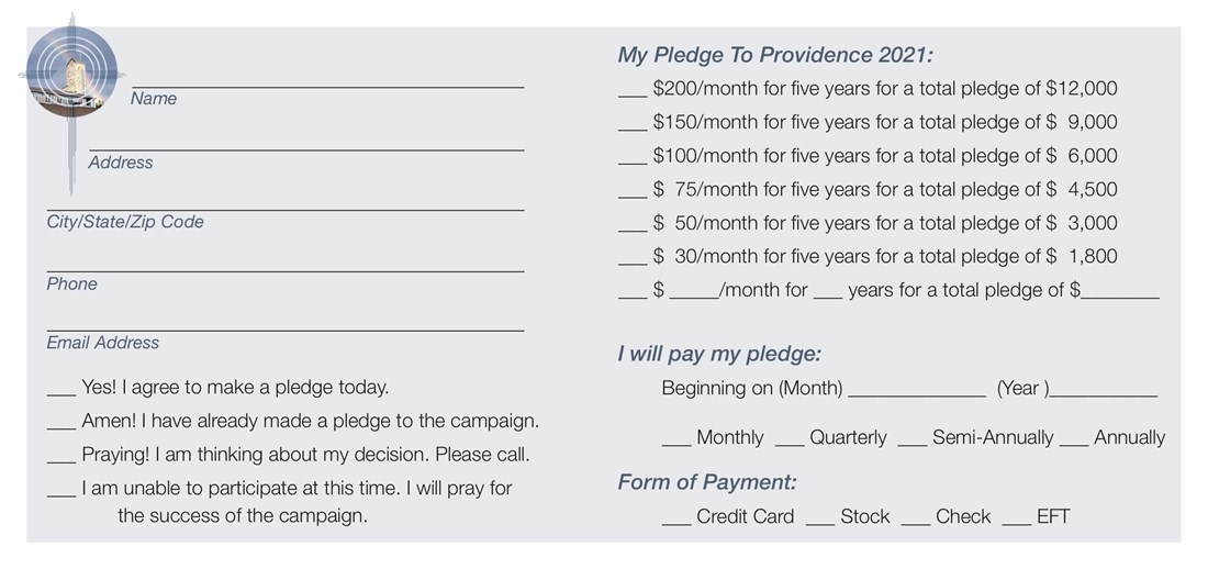 CC pledge card for pews