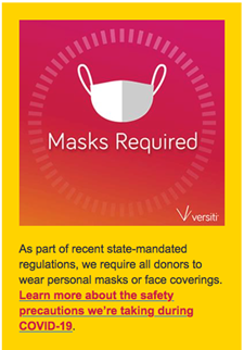 Blood drive masks required