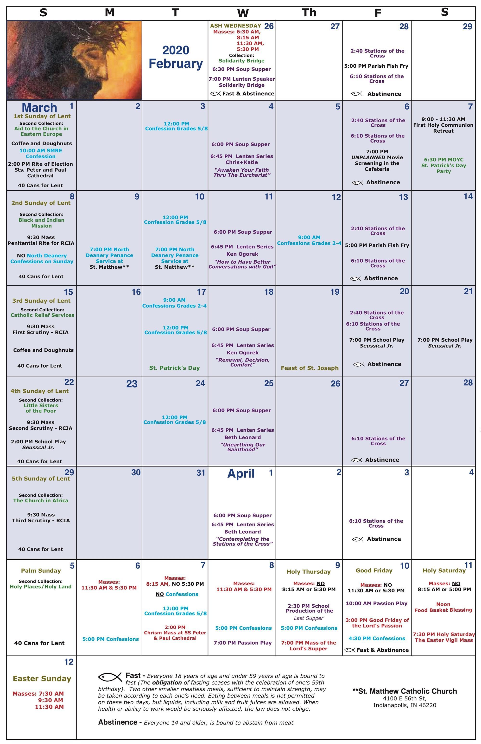 2020 Lenten calendar