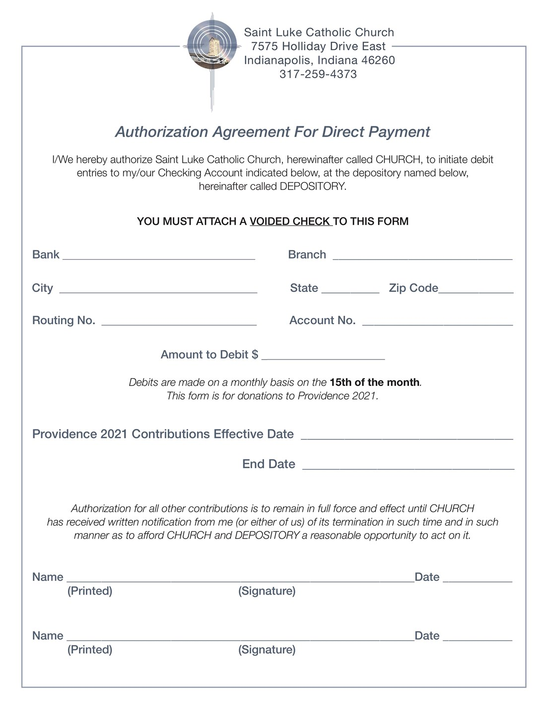 CC Direct Debit Form