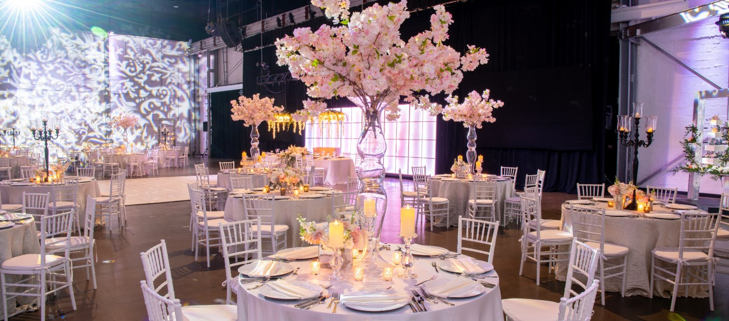 Pink Flower Wedding Reception Downtown Indianapolis