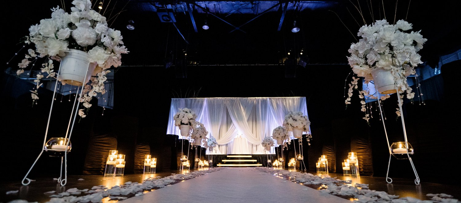 Wedding Ceremony aisle and stage at The Crane Bay Event Venue in Downtown Indianapolis