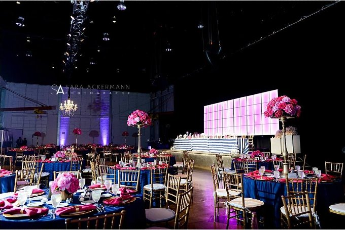 Navy and Pink Wedding Ceremony and Reception Downtown Indianapolis