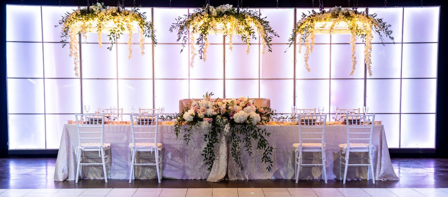 Headtable with Chandeliers Wedding Reception Downtown Indianapolis