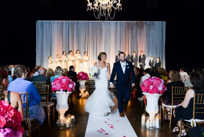 Navy and Pink Wedding Ceremony and Reception Downtown Indianapolis Recessional