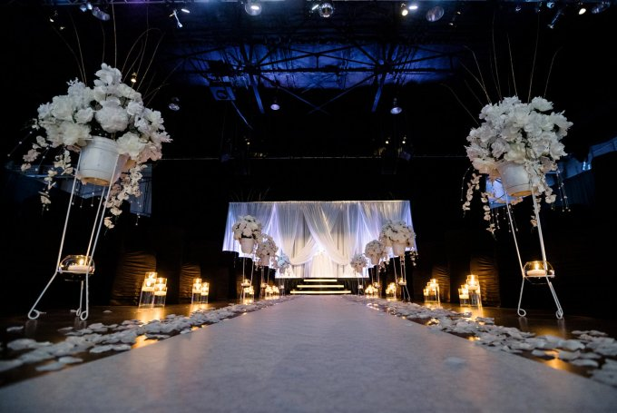 Black and White Wedding Reception Downtown Indianapolis Modern Venue